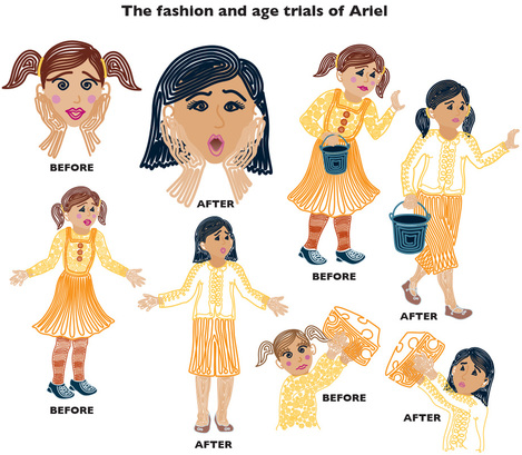 Different characterizations of Ariel, evolution of Ariel, different faces of Ariel