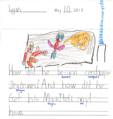 Danielle Anctil's kindergarten class feedback, Logan's question