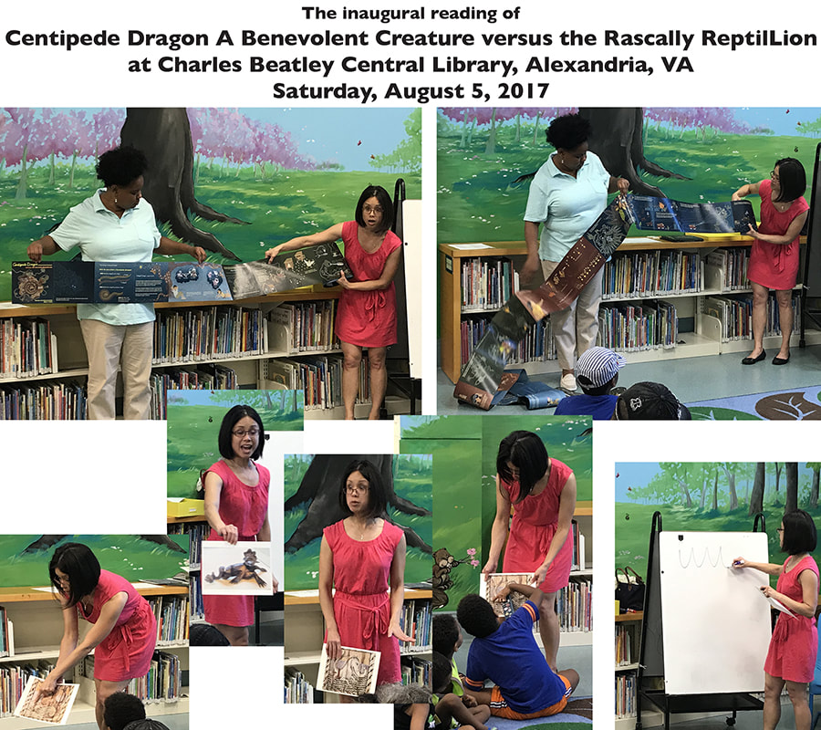 Centipede Dragon A Benevolent Creature versus the Rascally ReptilLion, Centipede Dragon book 2, Charles Beatley Central Library story time